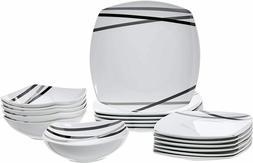 18-Piece Square Kitchen Dinnerware Set, Dishes, Bowls, Servi