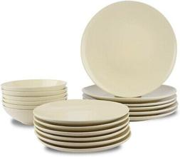 AmazonBasics 18-Piece Stoneware Dinnerware Set - Cream, Serv