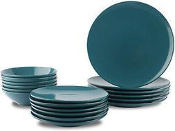 AmazonBasics 18-Piece Stoneware Dinnerware Set - Deep Teal,