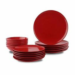 AmazonBasics 18-Piece Stoneware Dinnerware Set - Fire Engine