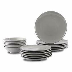 AmazonBasics 18-Piece Stoneware Dinnerware Set - Smokey Grey