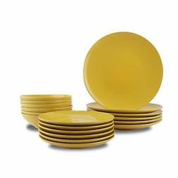 18 piece stoneware dinnerware set sunshine yellow