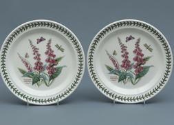 2 PORTMEIRION BOTANIC GARDEN FOXGLOVE Dinner Plates England