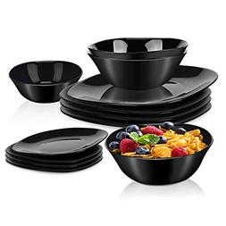 2-Piece Dinnerware Set Black Kitchen Dinner Set Service for