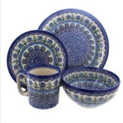 2 sets of Blue Rose Polish Pottery Charleston 4 Piece Dinner