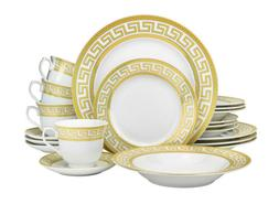 Euro Porcelain 20-pc Athena White Dinnerware Set Service for