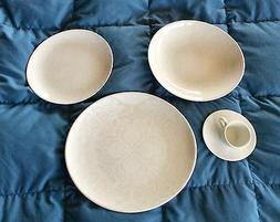 20 Pc. Oxford Porcelain  Lace White Dinnerware - 4 Place Set