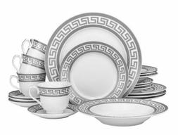 Euro Porcelain 20-pc White Dinnerware Set Service for 4, Pla