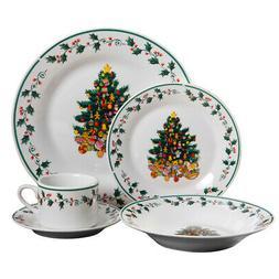 Gibson Home 20 Piece Ceramic Christmas Tree Trimming Dinnerw