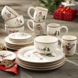 20 Piece Christmas Twig Dinnerware Set, Cream, Christmas Din