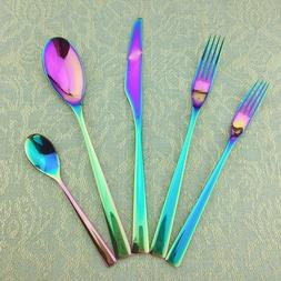 20-Piece Gorgeous Shiny Rainbow Cutlery <font><b>Sets</b></f