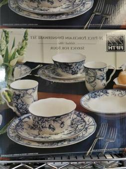 222 Fifth 20 Piece Porcelain Dinnerware Set Service for 4 Tu