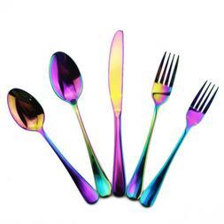 30pcs Dinnerware Set Food Grade Stainless Steel Cutlery Rain