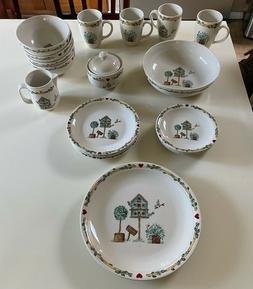 21 Piece Thompson Pottery China Birdhouse Pattern,Mugs,Plate