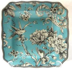 222 Fifth Adelaide Turquoise Salad Plates, Set of 4, Square