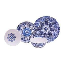 222 Fifth Rustic Medallion 12-Piece Dinnerware Set in Blue