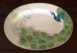 222 Fifth Serveware Lakshmi Peacock Fine Porcelain Large Ser