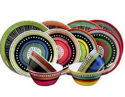 6Gibson 24-piece Colorful Melamine Dinnerware Set Service fo