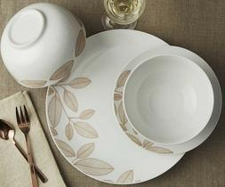 24-Piece Dinnerware Set Rose Gold Leaves Pattern Service for
