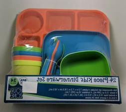 24-Piece Kids Dinnerware Set Multi-color New