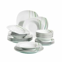 VEWEET 24-Piece Porcelain Dinnerware Set Ivory White Green S