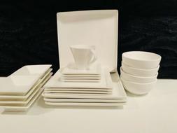 24 PIECE PORCELAIN DINNERWARE SET SQUARE DINNER PLATES DISH