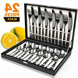 24 Pieces Flatware Cutlery Set, Black Stainless Steel Dinner