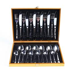 24Pieces Dinnerware Set Stainless Steel Knife Fork Cutlery S