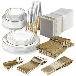 25 Guest Disposable Gold Dinnerware Set   Heavy Duty Plastic