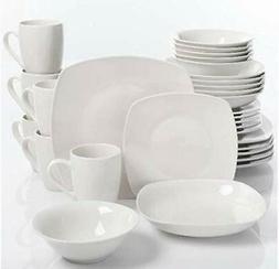 30-Piece Dinnerware Set Porcelain Square White Microwave saf