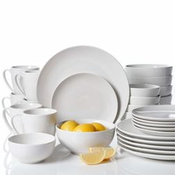 30 Piece Ogalla Dinnerware Set, White Porcelain Coupe Shape