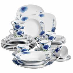 30-Piece Porcelain Dinnerware Set Royal Purple Flower Patter