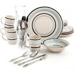 Gibson Deluxe 32-Piece Dinnerware Service For 4 w/ Flatware