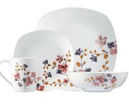 32-Piece Dinnerware Set Colorful Blooms Square China Dinnerw