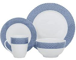 32-Piece Dinnerware Set Diamond Pattern Blue China Dinnerwar