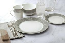 32-Piece Dinnerware Set Grey Banded Pattern China Dinnerware