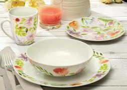 32-Piece Dinnerware Set Pink Watercolour Blooms China Dinner