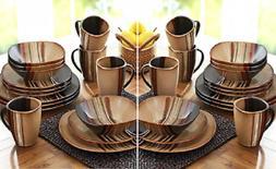 32 Piece Dinnerware Set Square Dishes Stoneware Plates Bowl