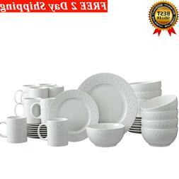 32 Piece Dinnerware Set White Microwave & Dishwasher Safe -