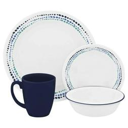 Corelle 32-Piece Livingware Ocean Blues Dinnerware Set Servi