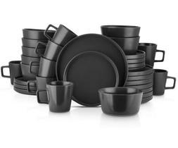 STONE LAIN 32-Piece Modern Black Matte Stoneware Dinnerware