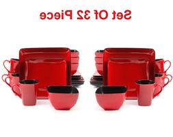 32 Piece RED Square Dinnerware Set Serving Dishes Plate Mug