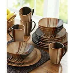 32 Piece Square Dinnerware Set Dishes Stoneware Plates Kitch