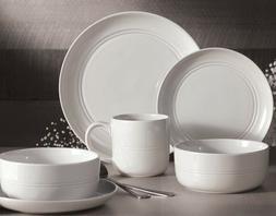 32-Piece Stoneware Dinnerware Set White Ridge Service for 8