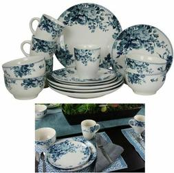 16 Piece Traditional Rose Stoneware Dinnerware Set Blue Serv