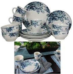 32 Piece Traditional Rose Stoneware Dinnerware Set Blue Serv