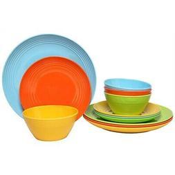 Melange 36-Pcs Melamine Dinnerware Set Multi