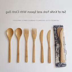 3Pcs/set Wooden Dinnerware Set Bamboo Fork <font><b>Knife</b