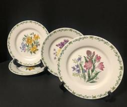 """4 Floral Garden Thompson Pottery Salad Plates 7.75"""" Daffod"""