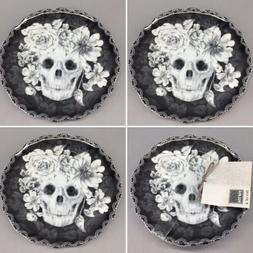 4 222 Fifth MARBELLA SKULL Appetizer Plate Set Halloween Flo